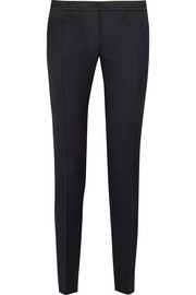 Aurore satin-trimmed wool slim-leg pants