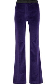 Satin-trimmed cotton-velvet flared pants