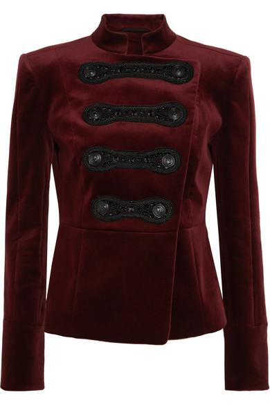 Pierre Balmain - Drummer Boy Embellished Cotton-blend Velvet Jacket - Burgundy
