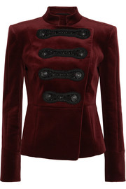 Drummer Boy embellished cotton-blend velvet jacket