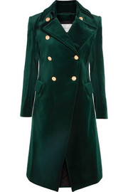 Cotton-blend velvet double-breasted coat