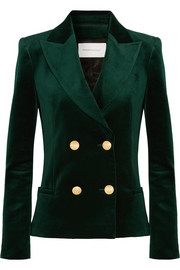 Double-breasted cotton-blend velvet blazer