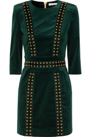 Embellished stretch-cotton velvet mini dress