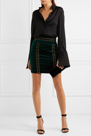 Embellished cotton-blend velvet mini skirt