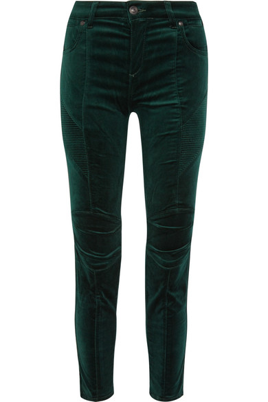 Stretch Cotton-blend Velvet Skinny Pants - Emerald Balmain H9xBnSKDb4