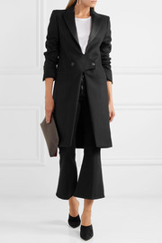 Satin-trimmed wool coat