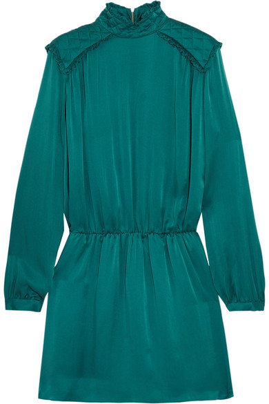 Washed-silk Mini Dress - Teal Balmain Low Price Browse Cheap Online Free Shipping Top Quality Clearance In China Free Shipping Prices g4iRA