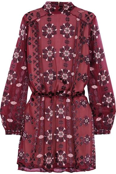 Pierre Balmain - Devoré Silk-blend Chiffon Mini Dress - Burgundy