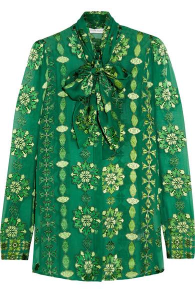 Pierre Balmain - Pussy-bow Printed Burnout Chiffon Blouse - Emerald