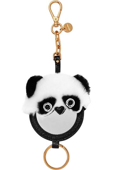 Miu Miu Velvet-trimmed Embellished Suede Keychain - Black c82fu15G
