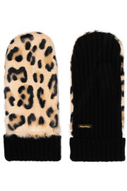 Miu Miu Leopard-print calf hair and cashmere mittens