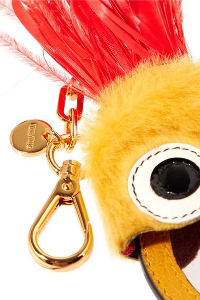 Miu Miu Schlüsselanhänger aus Leder, Shearling und Federn