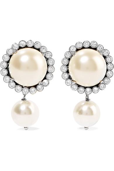Miu Gunmetal Tone Faux Pearl And Crystal Clip Earrings