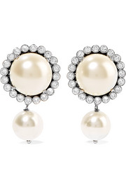 Gunmetal-tone, faux pearl and crystal clip earrings