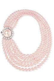 Miu Miu Faux pearl and crystal necklace