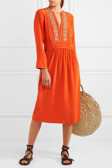 Hervine Embroidered Silk Midi Dress - Orange Vanessa Bruno 7tl7ZAMQ
