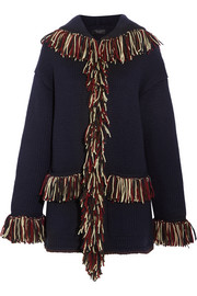Fringed hooded cashmere cardigan