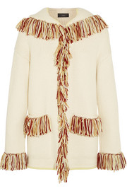Oversized hooded fringed cashmere cardigan