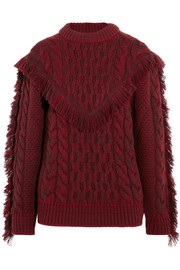 Fringed cable-knit cashmere sweater