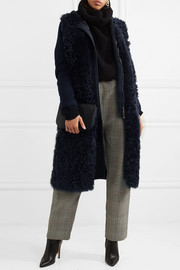 Hooded shearling and wool-blend coat