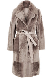 Suede-trimmed shearling coat