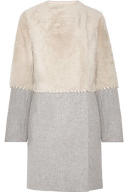 Two-tone whipstitched shearling, wool and cashmere-blend coat