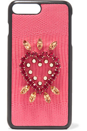 Dolce & Gabbana Embellished lizard-effect leather iPhone 7 Plus case