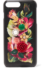 Embellished floral-print textured-leather iPhone 7 Plus case