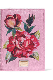 Dolce & Gabbana Floral-print metallic textured-leather passport cover