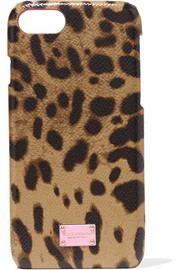 Leopard-print textured-leather and shell iPhone 7 case