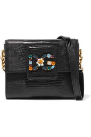 Dolce & Gabbana Milennials embellished lizard-effect leather shoulder bag