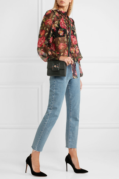 Dolce & Gabbana Millennials verzierte Schultertasche aus Leder mit Eidechseneffekt