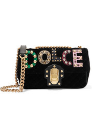 Lucia embellished ayers-appliquéd velvet shoulder bag