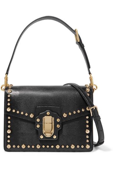 Dolce   Gabbana. Lucia studded lizard-effect leather shoulder bag f492a284050fe