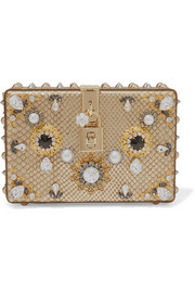 Dolce Box verzierte Clutch aus Metallic-Pythonleder