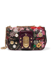 Dolce & Gabbana Lucia embellished watersnake-trimmed jacquard shoulder bag