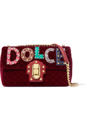 Dolce & Gabbana Lucia embellished watersnake-appliquéd velvet shoulder bag