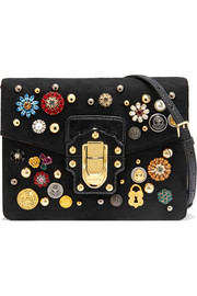 Dolce & Gabbana Lucia watersnake-trimmed embellished brocade shoulder bag