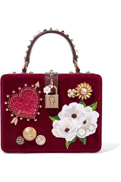 Dolce & Gabbana - Dolce Box Leather-trimmed Embellished Velvet Clutch - Burgundy