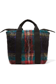 Yotto tartan mohair-blend and cotton-canvas tote