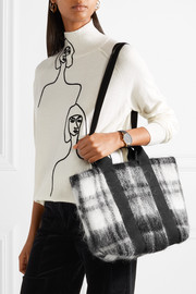 Yotto tartan and cotton-canvas tote