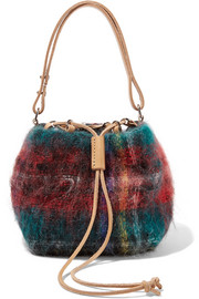 Fugu leather-trimmed tartan mohair-blend bucket bag