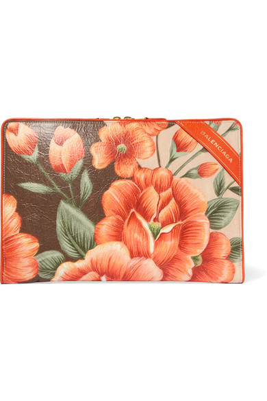 Balenciaga - Blanket Floral-print Textured-leather Pouch - Orange