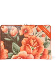 Blanket floral-print textured-leather pouch