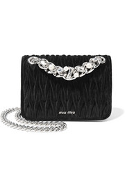 Miu Miu Embellished matelassé velvet shoulder bag