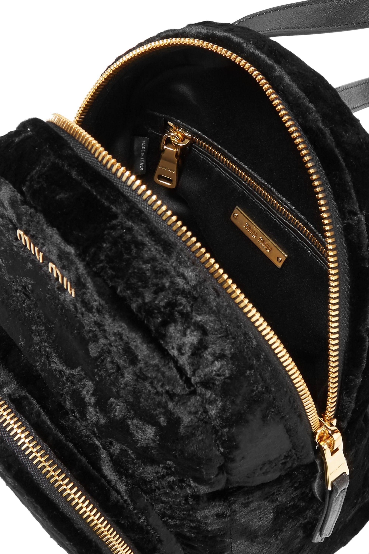 Miu Miu Leather-trimmed velvet backpack