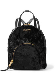 Leather-trimmed velvet backpack
