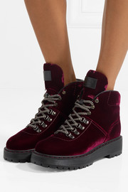 Leather-trimmed velvet ankle boots