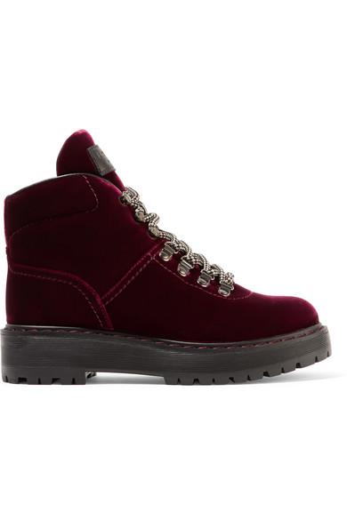 Prada - Leather-trimmed Velvet Ankle Boots - Burgundy