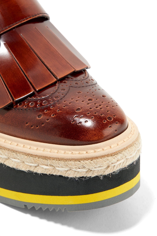 Prada Fringed burnished-leather platform brogues